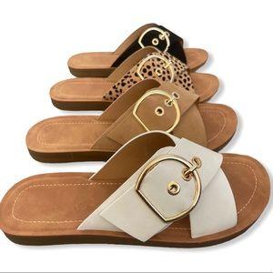 White Adjustable Buckle Criss Cross Sandals